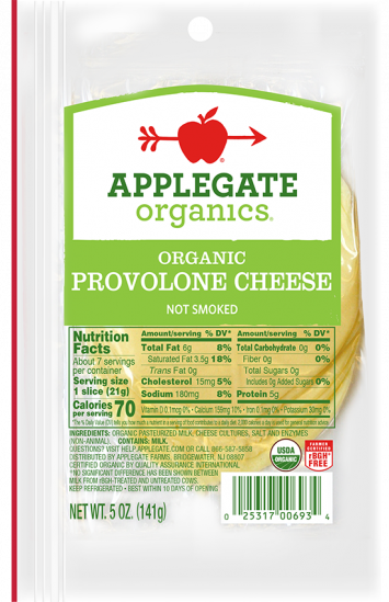 Applegate Organics — Certified Organic Sliced Provolone Cheese