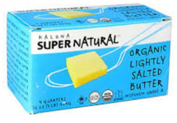 Kalona Super Natural - Organic Lightly Salted Butter, 1lb Quartered