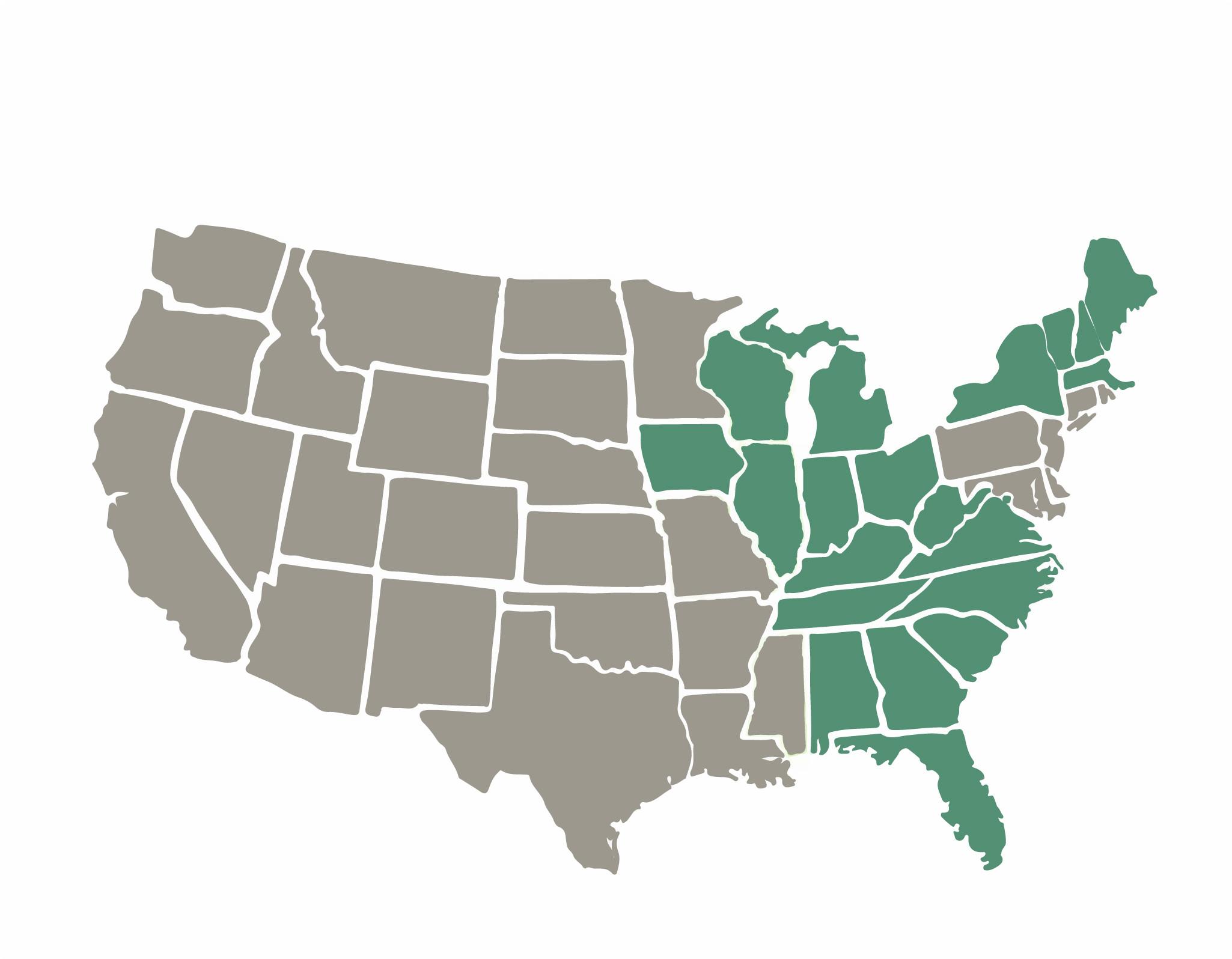 AL, FL, GA, IA, IL, IN, KY, MA, ME, MI, NC, NH, NY, OH, SC, TN, VA, VT, WI, WV