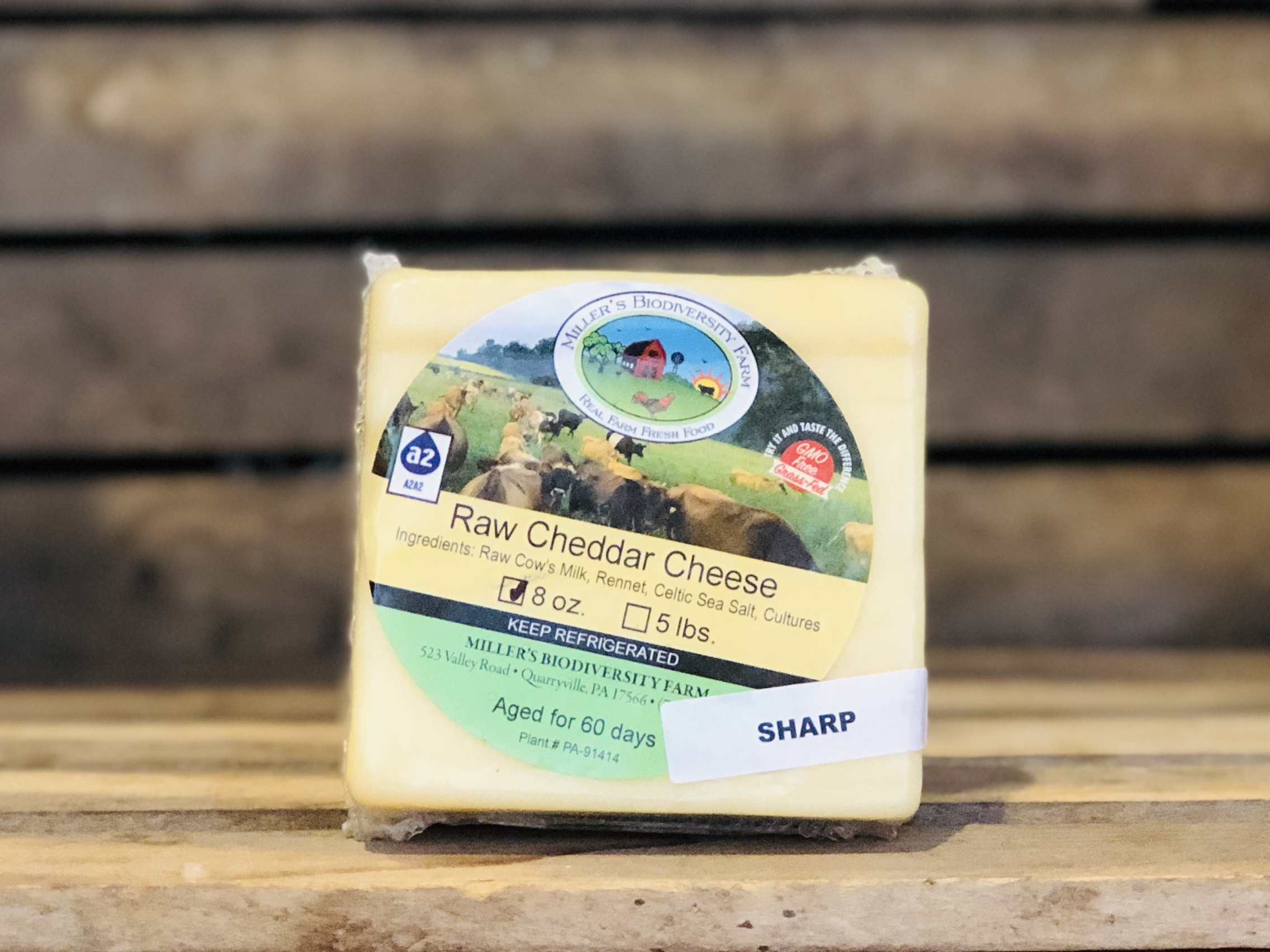 Sharp A2 Cheddar Cheese, 8oz - Miller's Biodiversity Farm