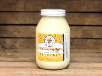 1 quart - Raw Plain Greek Goat Yogurt (Glass)