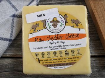 8oz Raw Mild A2 Cheddar Cheese