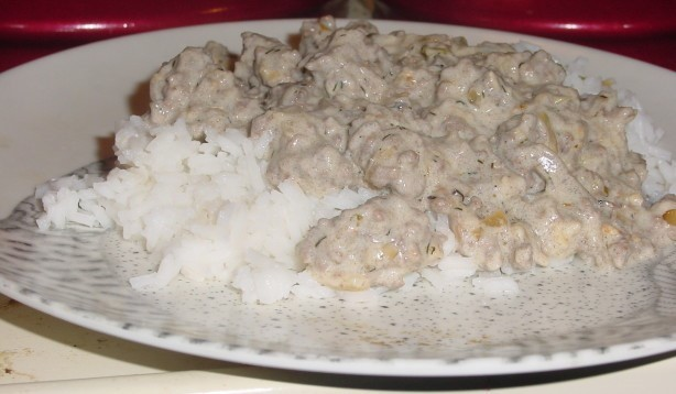 Beef Garlic Stroganoff Over Rice