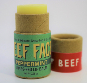 Beef Face Peppermint Grass-Fed Lip Balm - Excellent Wind Protection