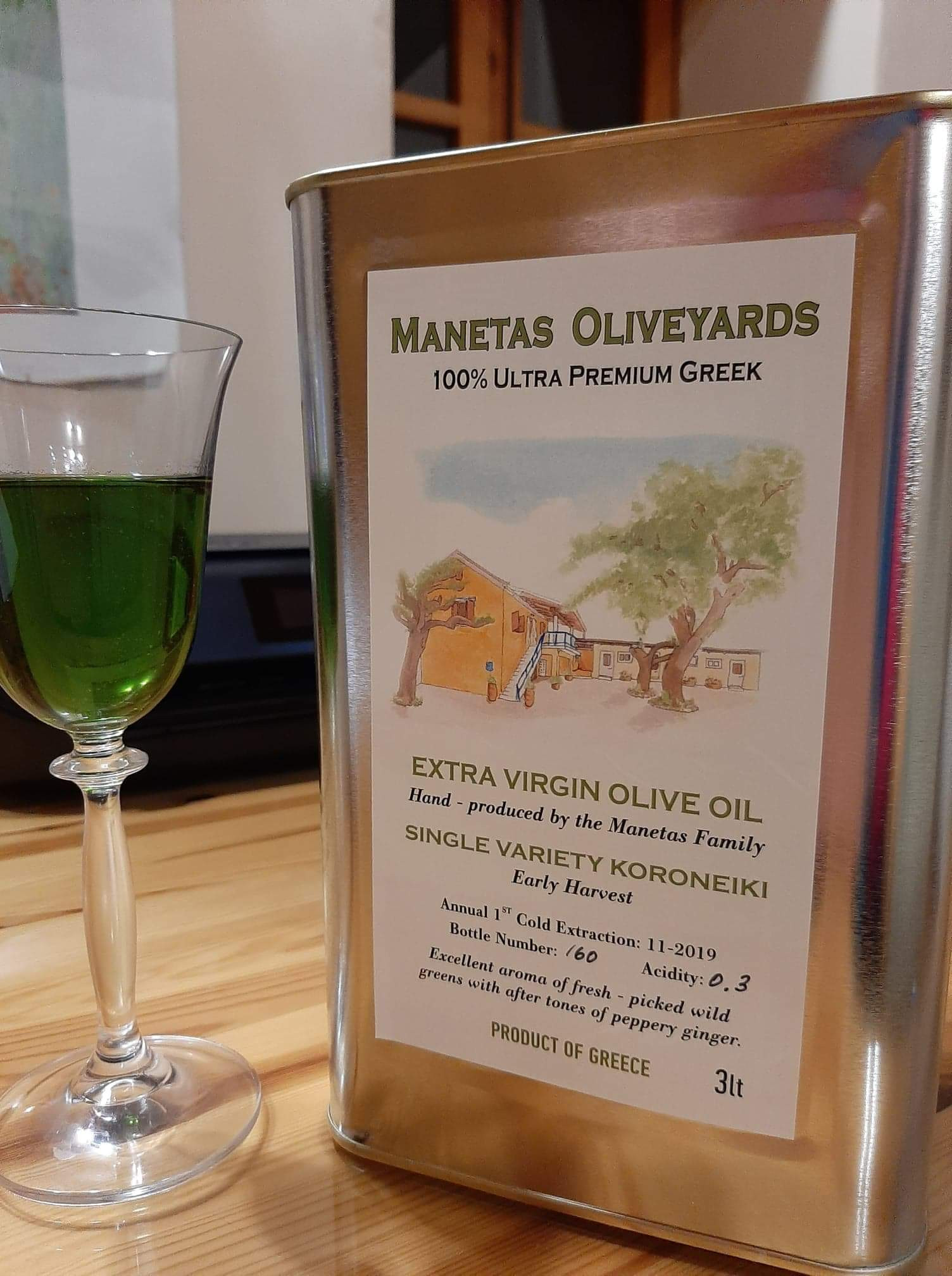 100% Ultra Premium 2019 Greek Koroneiki EV Olive Oil, 3L
