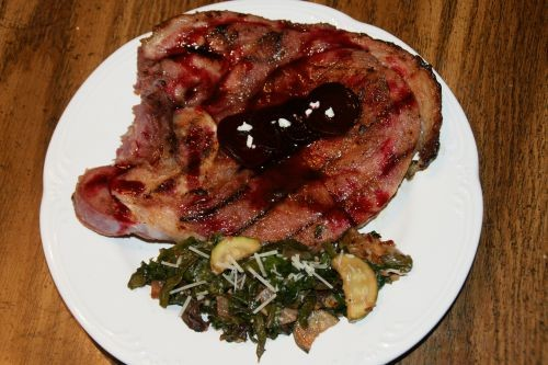 Grilled Apricot-Glazed Ham Steak with Beet Reduction Sauce