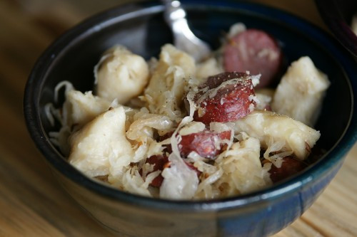 Knoephla, Kraut and Sausage