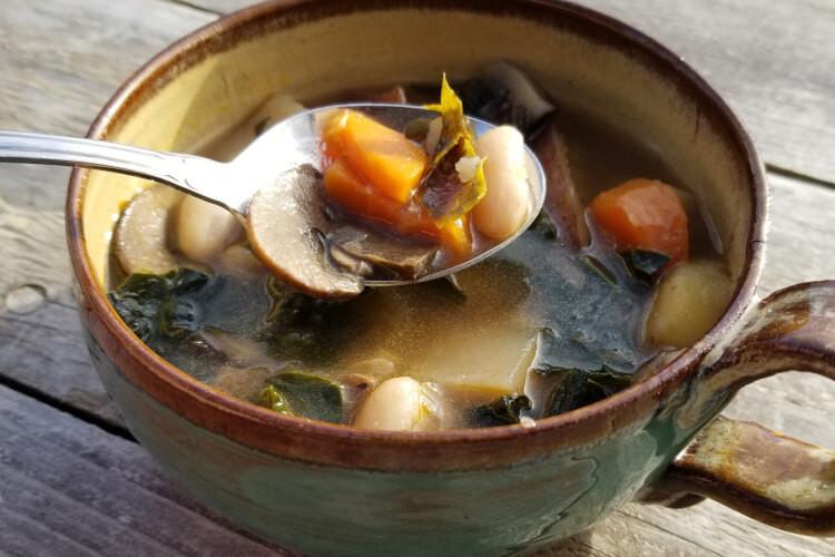 Shiitake, White Bean & Kale Soup