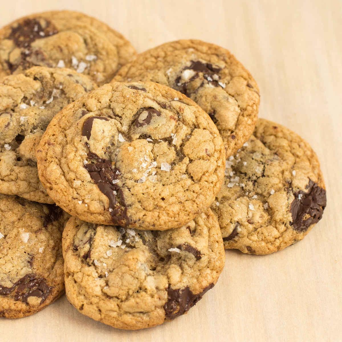 Dark Chocolate Chip Cookies with Sea Salt