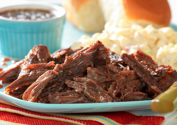 Speed Cooker Whiskey-Molasses Shredded Beef