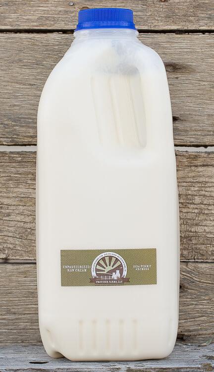 1/2 gallon Raw Cream (plastic)