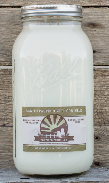 1/2 gallon Raw Cow Milk (glass)