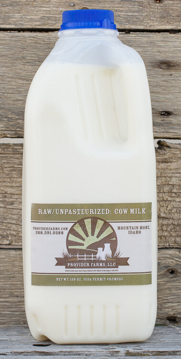 1/2 gallon Raw Cow Milk (plastic)
