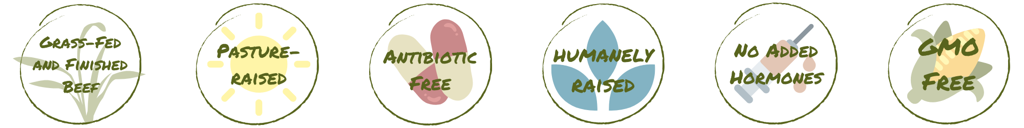 Icons with text: grass-fed and finished beef, pasture-raised, humanely raised, antibiotic free, no added hormones, and non-gmo