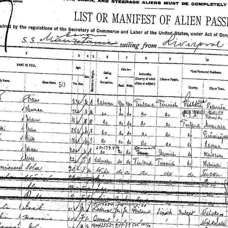 Manifest of the S.S. Caronia at Ellis Island, NY listing its passengers including Isak Mallula.
