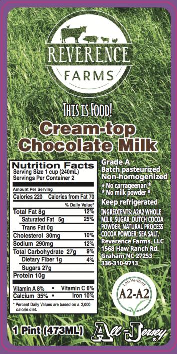 Milk: Reverence Farm's A2A2 100% Grass-fed Chocolate Milk A2A2  (pint)