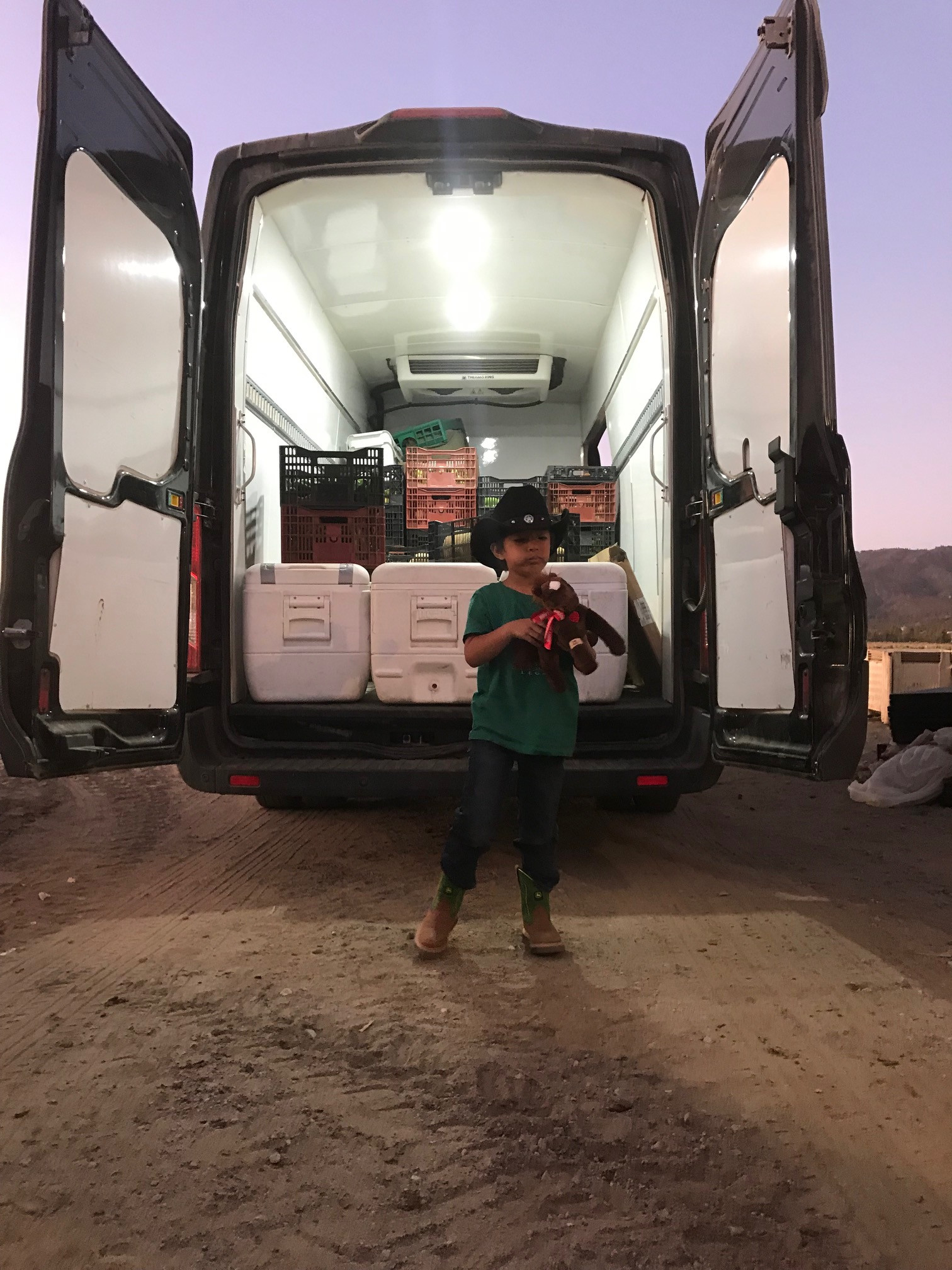 Future farmer Benji Noble loading up for the market! See you there!
