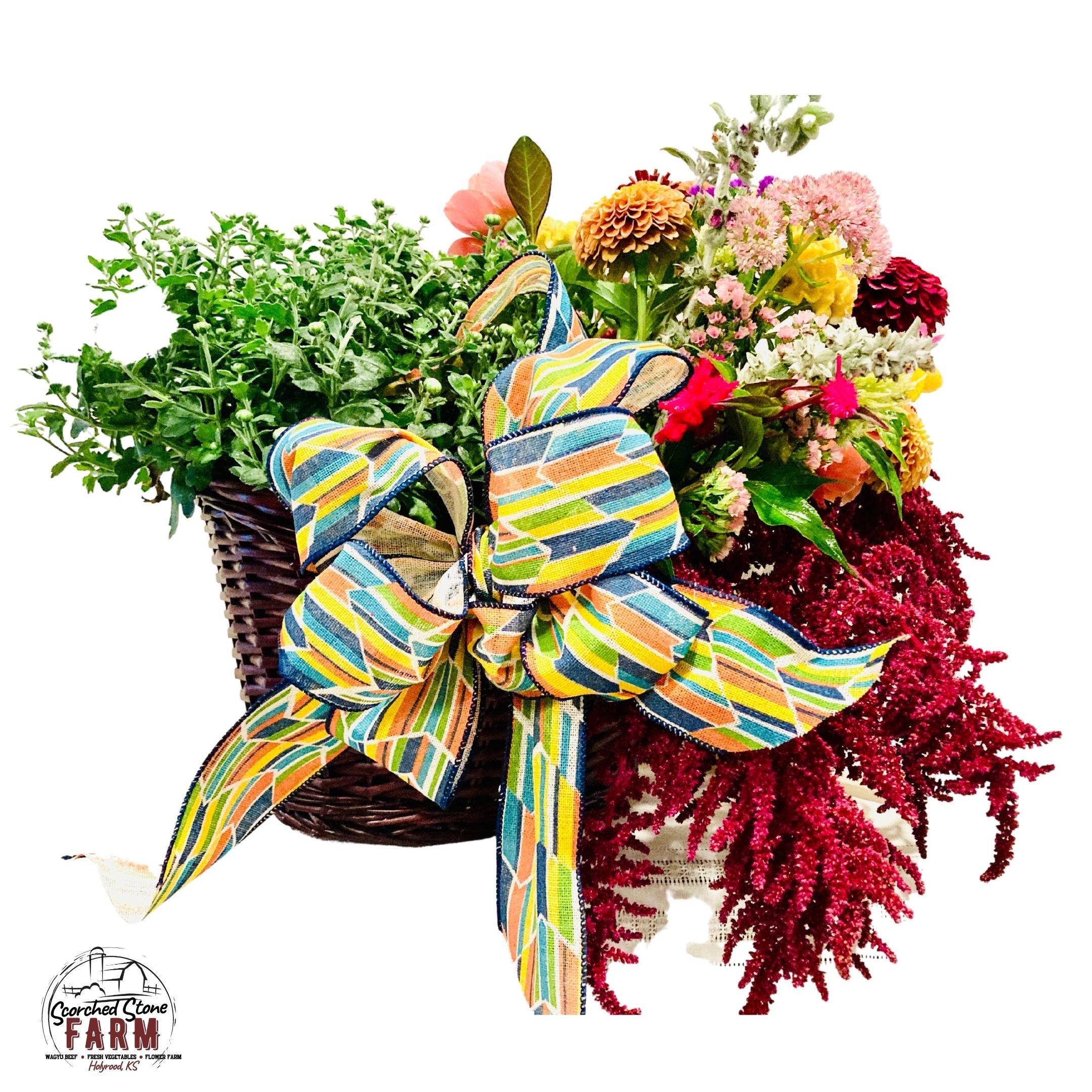 Fall Floral & Mum Basket