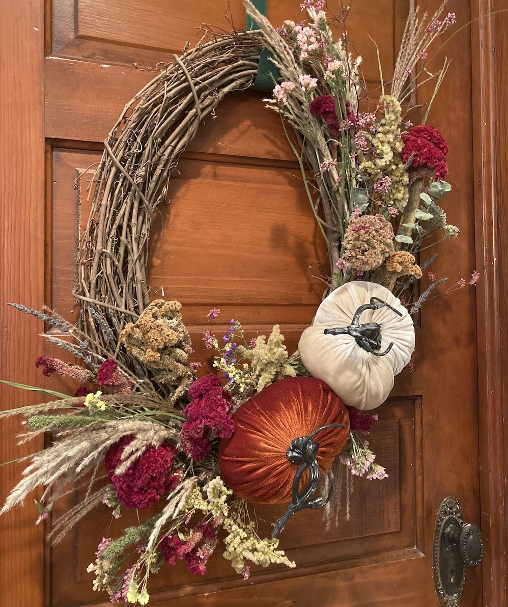 Plush Pumpkin Grapevine Wreath