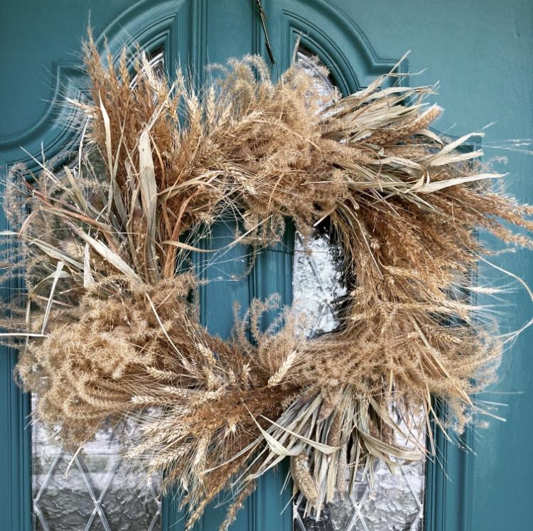 Happy Harvest Dried Grass Wreath