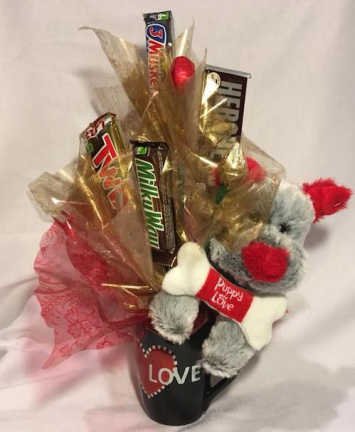 Candy Bouquet with Stuffed Animal