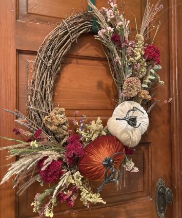 Plush Pumpkin Grapevine Wreath