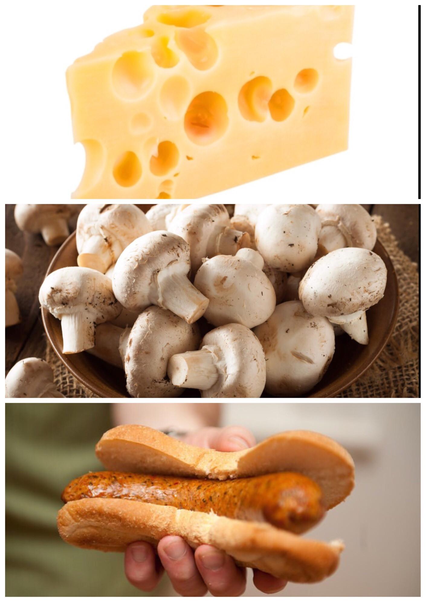 Mushroom and Swiss Brat Links