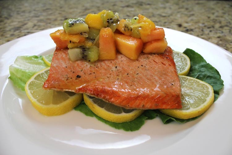 Grilled Salmon Using a Himalayan Salt Block