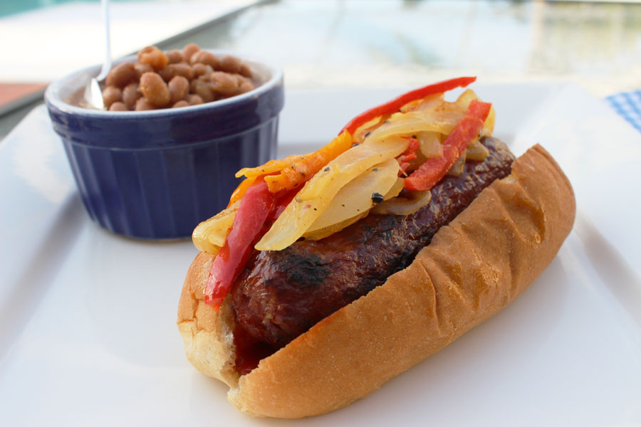 Grilled Beef and Pork Brats with Peppers and Onions