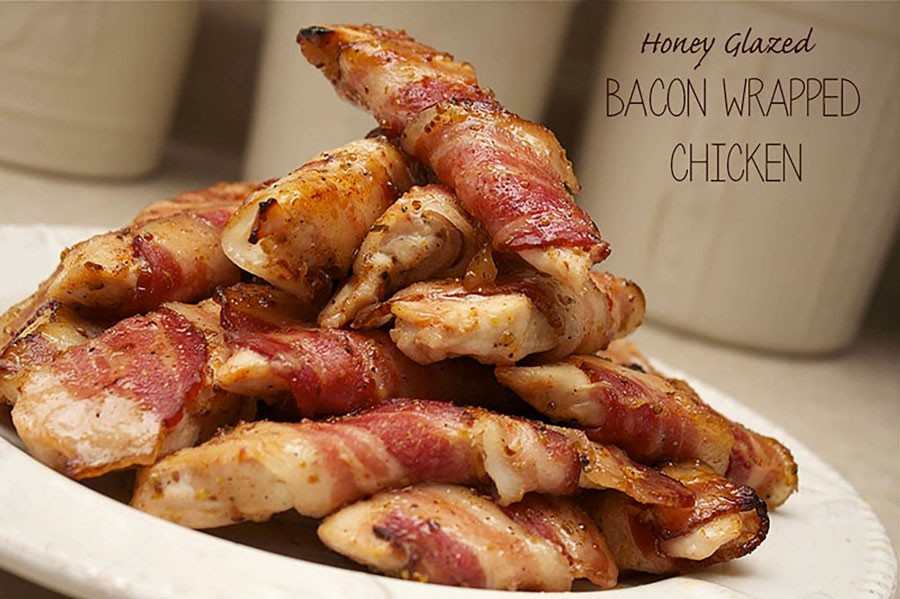 Bacon Wrapped Chicken with Honey Glaze