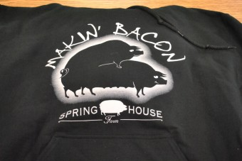 """Makin' Bacon"" Hoody Sweatshirt (size medium)"