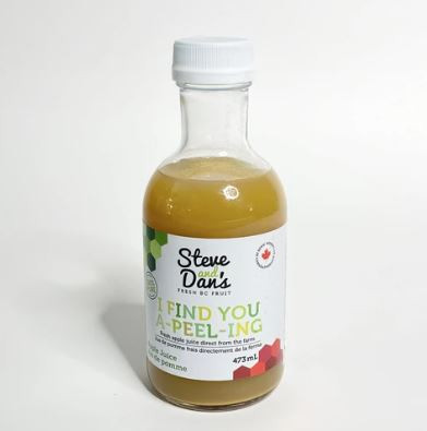 Steve and Dan's 100% Canadian Apple Juice - 473 ml glass bottle