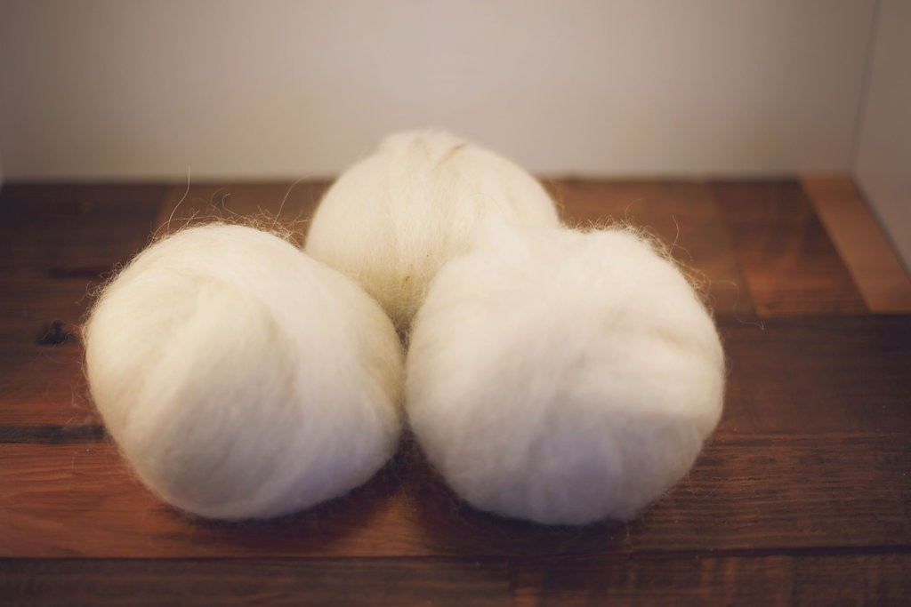 Wool Roving, White