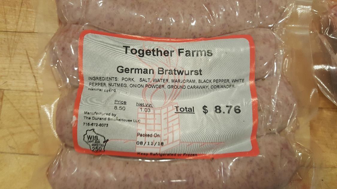 Pork, Brats, German (Regular)