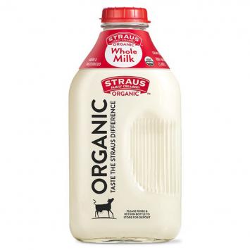 Straus Whole Milk, Cream Top - Half Gallon