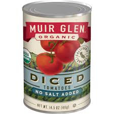 Muir Glenn Diced Tomatoes No Salt, 15oz