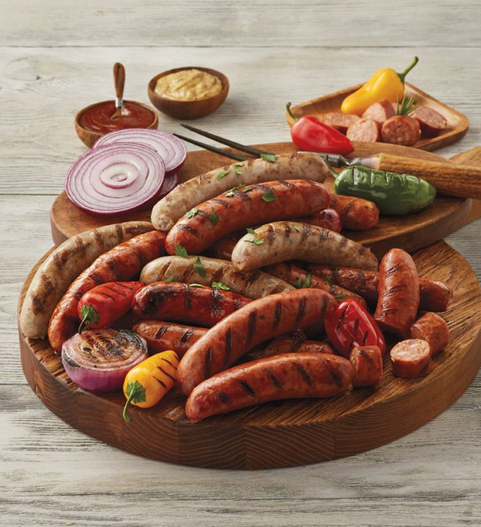 Brat Sampler! One package each of: Cheddar Brats, Jalapeno Brats, Jalapeno Cheddar Brats, Bacon Cheddar Brats and Pineapple Brat
