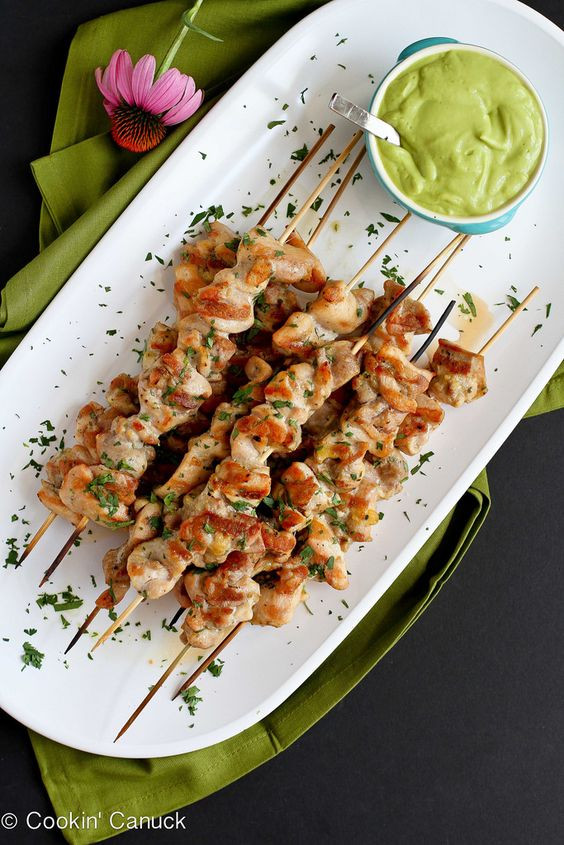 Spiced Chicken Skewers with Avocado Chile Sauce