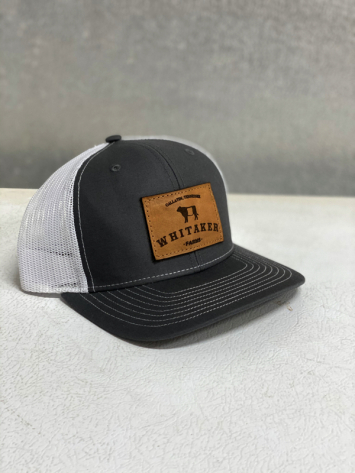 Leather White/Gray Hat