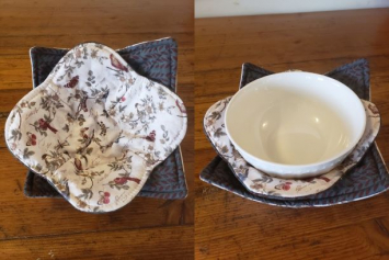 Bowl Cozy Set - Birds & Butterflies - (Bowl Not Included)