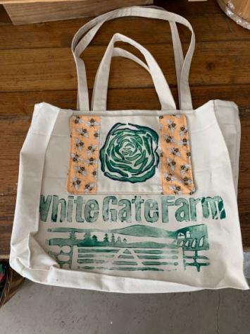 WGF Canvas Tote Bag (Cabbage w/ Bee Border)
