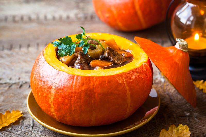 Pumpkin Prairie Stew in a Pumpkin