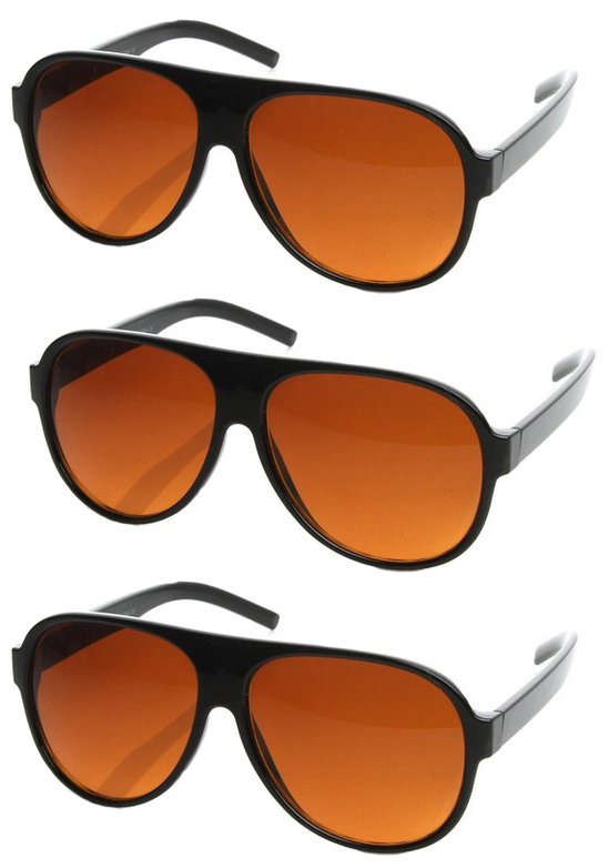 01cac04ee9 Details about 3 PAIRS Aviator BLUE BLOCKER Sunglasses for Driving with  Amber Lens wholesale