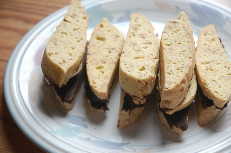 Cashew Biscotti with chocolate glaze Recipe by roopavij ...