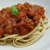 Doctored up Pasta Sauce with Whole Wheat Spaghetti