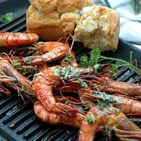 Grilled Prawns with Lemon Butter and Corn Bread