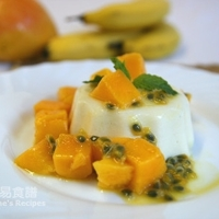Pandan Panna Cotta with Mango and Passionfruit