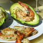 Prawns with avocado paté
