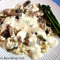 Creamy Chicken Alfredo with Mushrooms, Asparagus