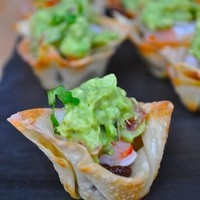 Wonton Cups with Bacon Jam, Shrimp, and Guacamole